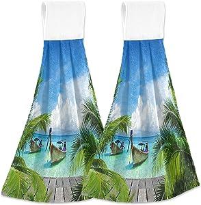 Alaza Tropical Beach Sea Boat Sunny Nature Seashore Kitchen Towels Tea Towels Dish Towels with Hanging Loop 2 Pack