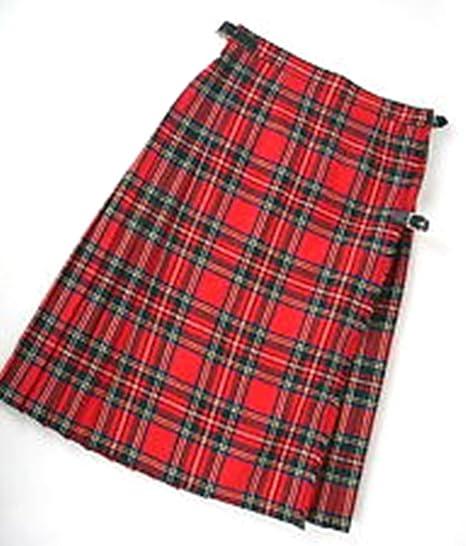 "Ladies Pure Wool Tartan Billie Kilt 15/"" Length Stewart Royal"