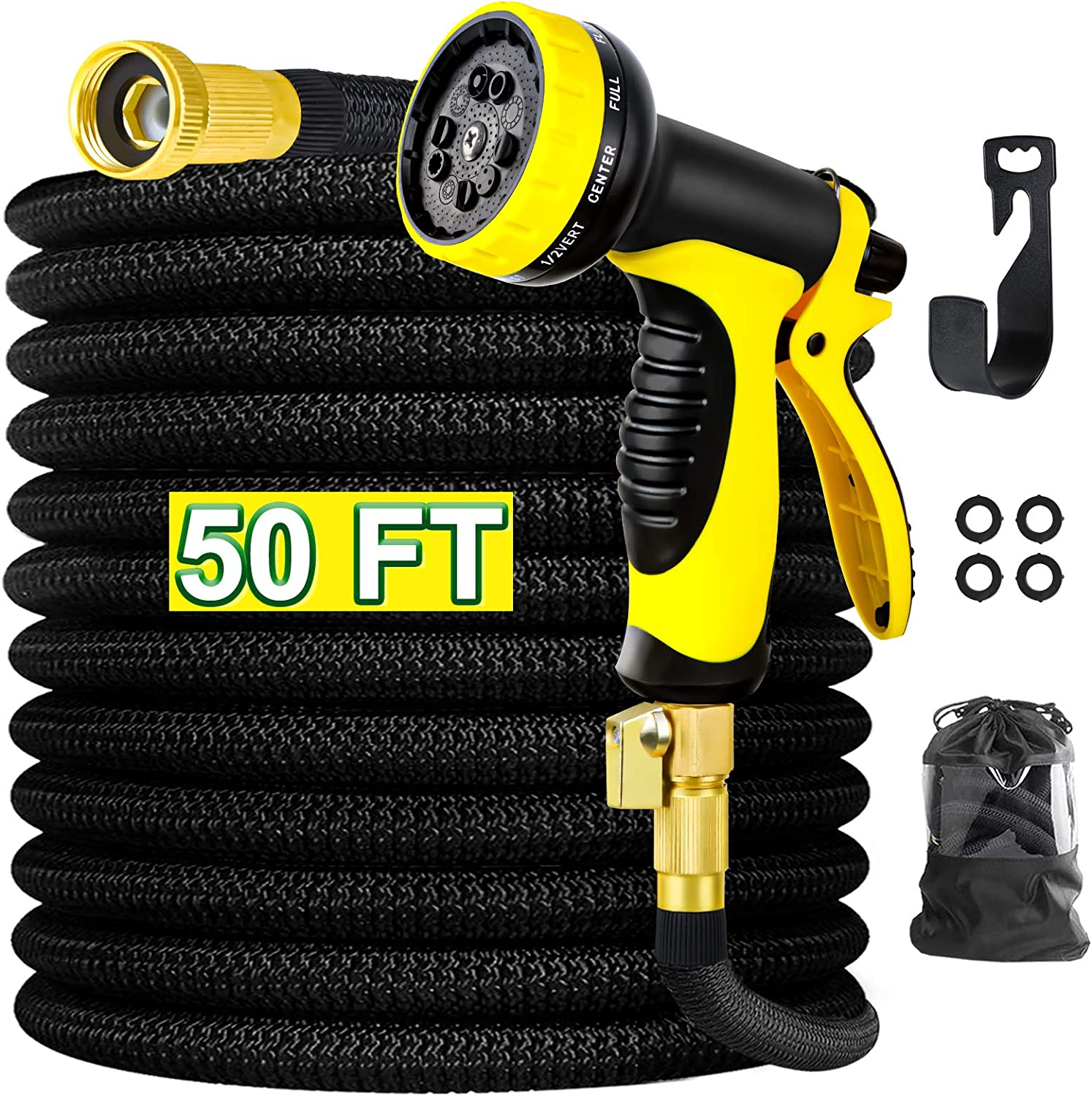 """Garden Hose, Abida 50FT Expandable Lightweight Water Hose with 10-Pattern Hose Nozzle, Leakproof Hose with 3/4"""" Solid Brass Connectors, Flexible Hose for Washing and Watering"""