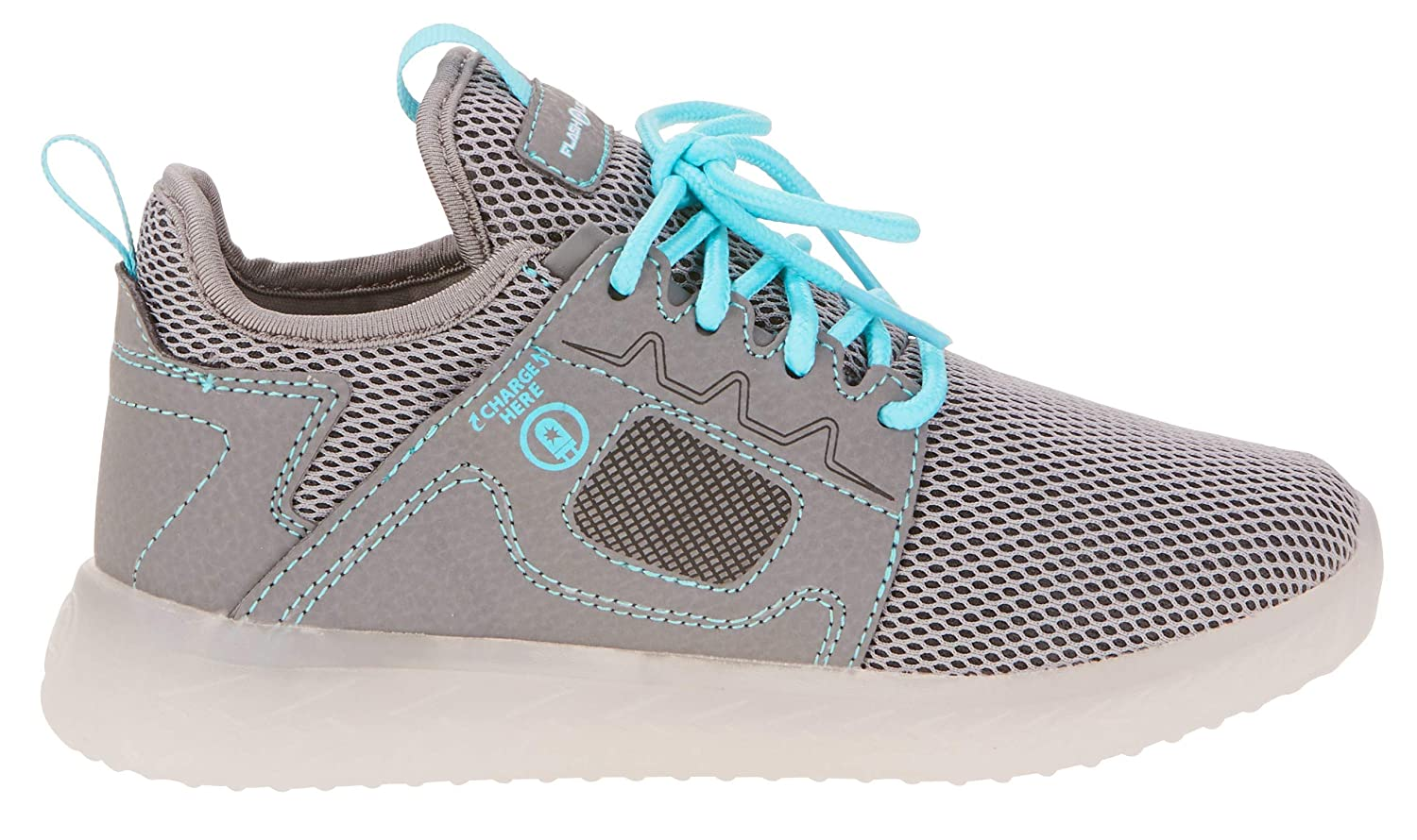 Flashlights Girls Multi Color Light-Up Lightweight Athletic Sneakers Grey Teal, Size 7