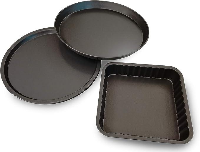 Guardini Set: 4 Moldes para pizza Ø32cm + 1 Molde para pizza Ø37 + 1 Molde para Horno Cuadrado 24x24cm. Material: Acero con Revestimiento Antiadherente, Color gris.: Amazon.es: Hogar