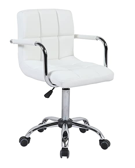 Swell Hnnhome Swivel Pu Leather Office Furnitue Computer Desk Office Chair White Evergreenethics Interior Chair Design Evergreenethicsorg