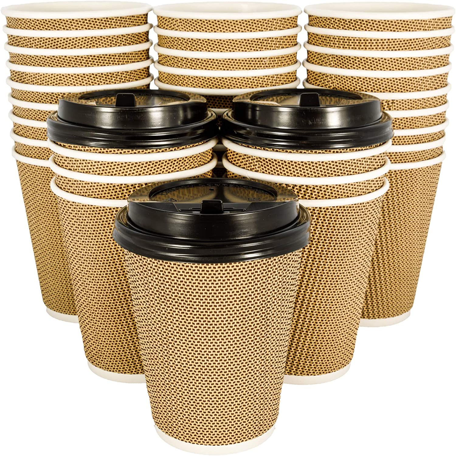 OzBSP 100 Pack Brown 12 oz Disposable Coffee Cups with Lids - Insulated Double Wall 12oz Paper Coffee Cups with Lids - No Sleeves Needed - to Go Coffee Cup Leak Proof Lids. Microwaveable Hot Cups togo