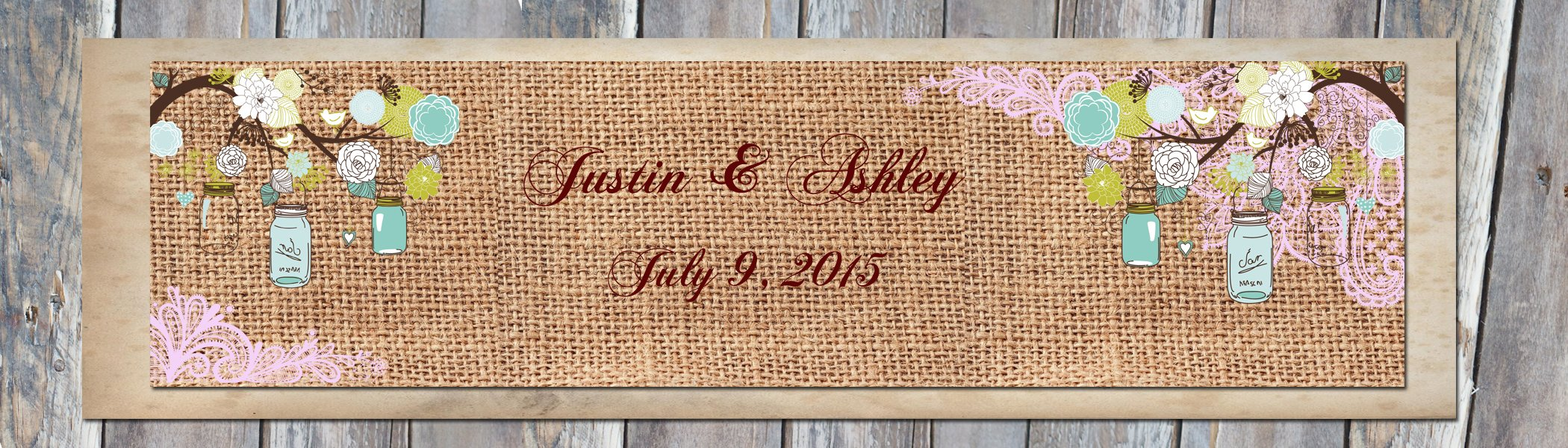 100 Burlap Wood Mason Jars & Lace Country Wedding Anniversary Engagement Party Water Bottle Labels 8''x2'' by DesignThatSign (Image #2)