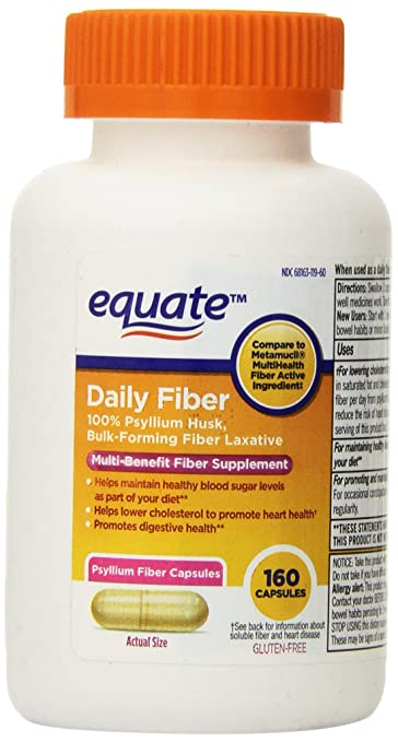 Equate Fiber Therapy, For Regularity Fiber Supplement Capsules, 160-Count  Bottle