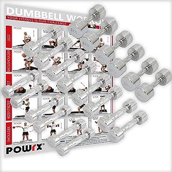 POWRX Cromo Pesas par Incluye Workout I Mancuernas 2 Unidades 1 - 30 kg I Cromado y moleteados I Antideslizante Agarre: Amazon.es: Deportes y aire libre