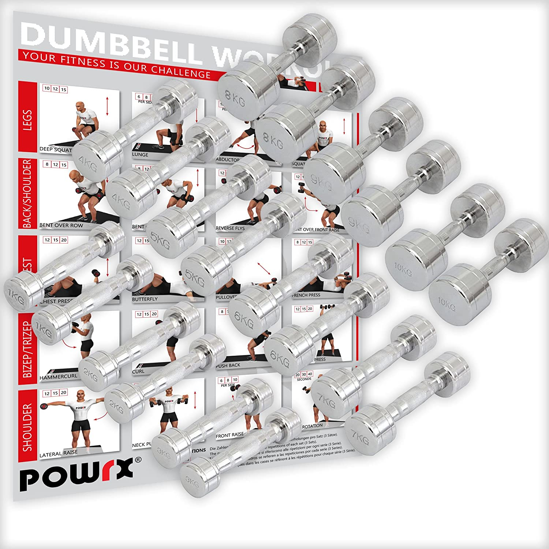 POWRX Chrom Hantel Paar inkl. Workout I Kurzhantel 2er Set 1-30 kg I Verchromt und gerändelt I Rutschsicherer Griff