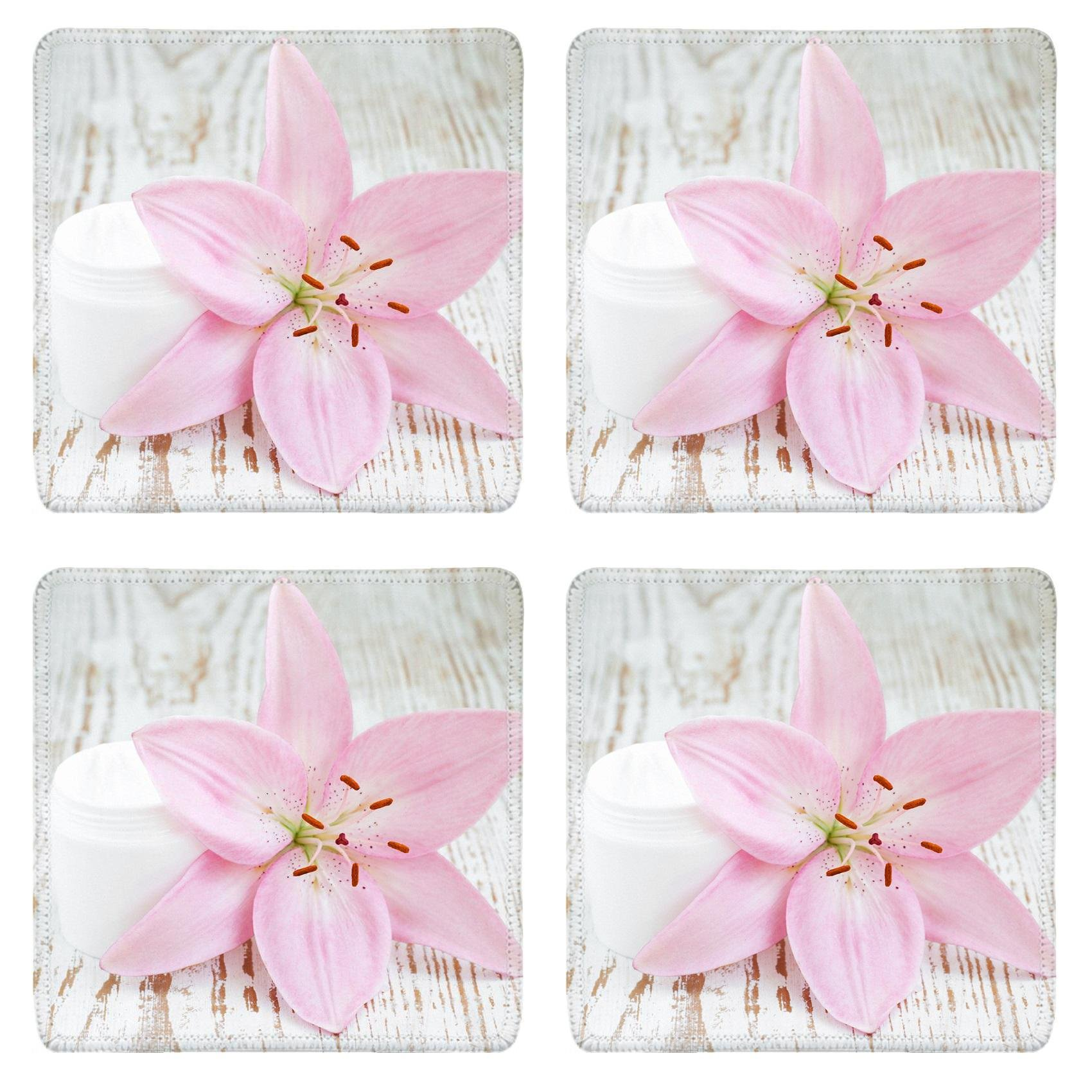 MSD Square Coasters Non-Slip Natural Rubber Desk Coasters design 24610523 Wellness and spa scene with lily and beauty cream