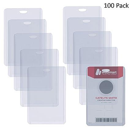 Fundas Tarjetas Identificación (100 Piezas) - 6,5 x 10cm Portatarjetas de Vinilo Vertical para Escuelas, Universidad, Eventos, Trabajadores de Oficina ...
