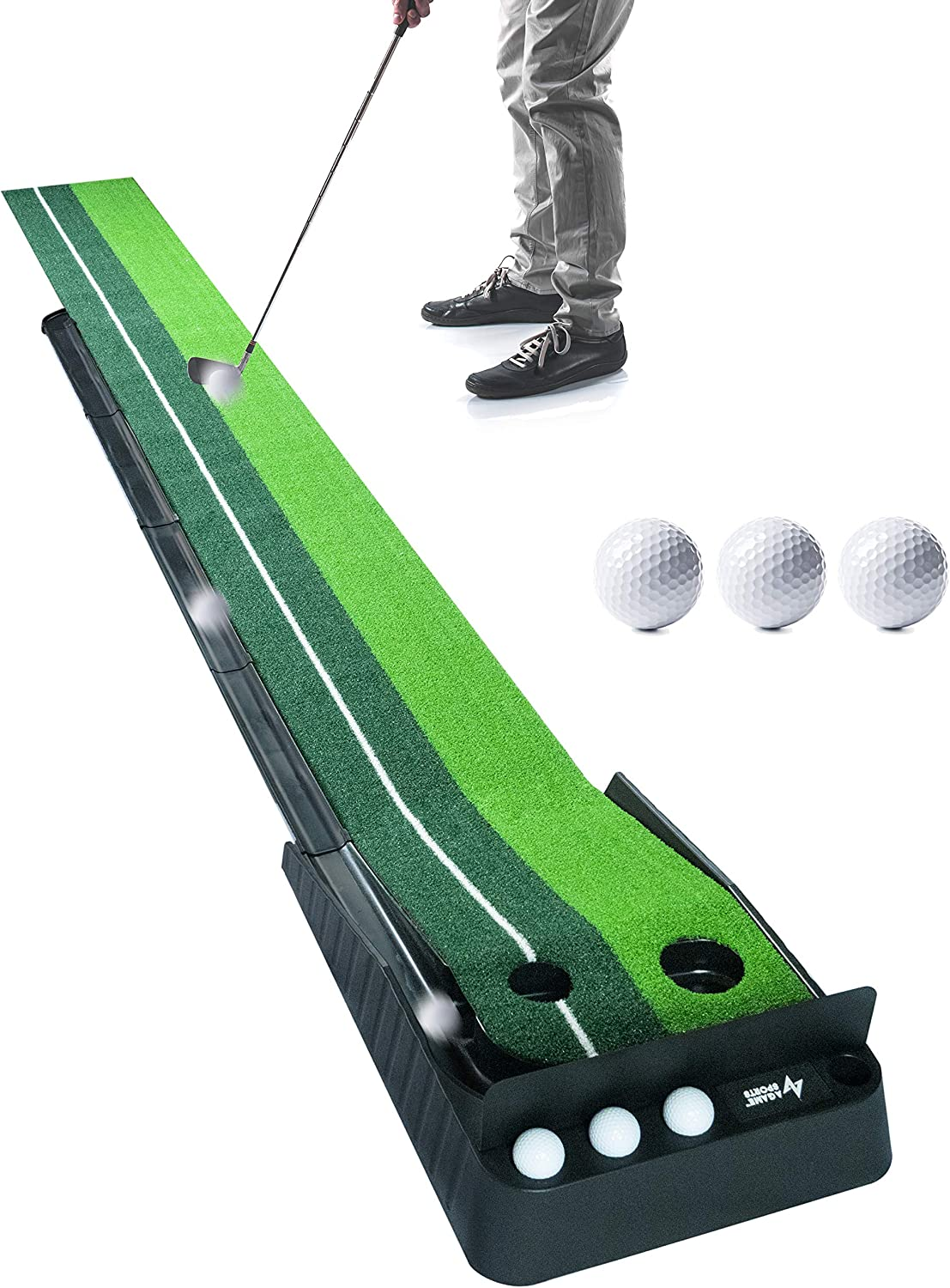 A Game Sports Indoor Golf Putting Green with Ball Return (10 Ft) | Golf Gifts for Men | Golf Practice Putting Mat for Home or Office, Includes 3 Golf Balls & Ball Block Bezel