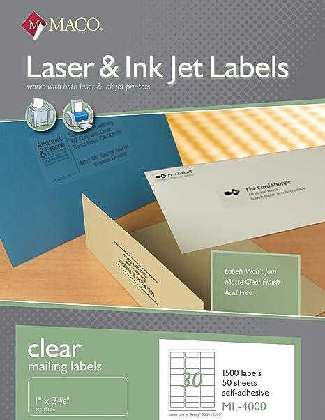 amazon com maco laser ink jet matte clear address labels 1 x 2 5