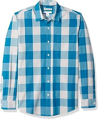 Amazon Essentials - Camisa informal de popelín de manga larga de corte entallado para hombre