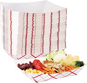 Eupako Paper Food Trays 3 Lb Disposable Paper Food Serving Tray Grease Resistant Boat Heavy Duty (Red Striped, 100 Pack)