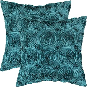 CaliTime Pack of 2 Cushion Covers Throw Pillow Cases Shells for Couch Sofa Home Solid Stereo Roses Floral 20 X 20 Inches Teal