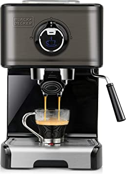 Black+Decker BXCO1200E Cafetera espresso, Acero Inoxidable, Negro ...