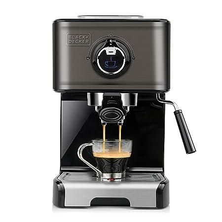 Black+Decker BXCO1200E Cafetera espresso, Acero Inoxidable, Negro