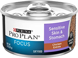 Purina Pro Plan Grain Free Wet Cat Food Pate, Sensitive Skin & Stomach Chicken Entree - (24) 3 oz. Cans