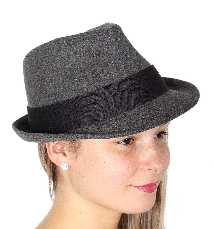 SERENITA Wool Felt Classic Fedora Hat, S/M, Unisex, Grey, 1920s Panama Jazz