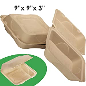 Biodegradable 9x9 Take Out Food Containers with Clamshell Hinged Lid 100 Pack. Microwaveable, Disposable Takeout Box to Carry Meals Togo. Great for Restaurant Carryout or Party Take Home Boxes