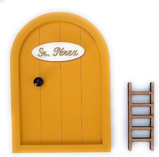 Puerta Ratoncito Pérez de madera varios colores + Escalera + ...