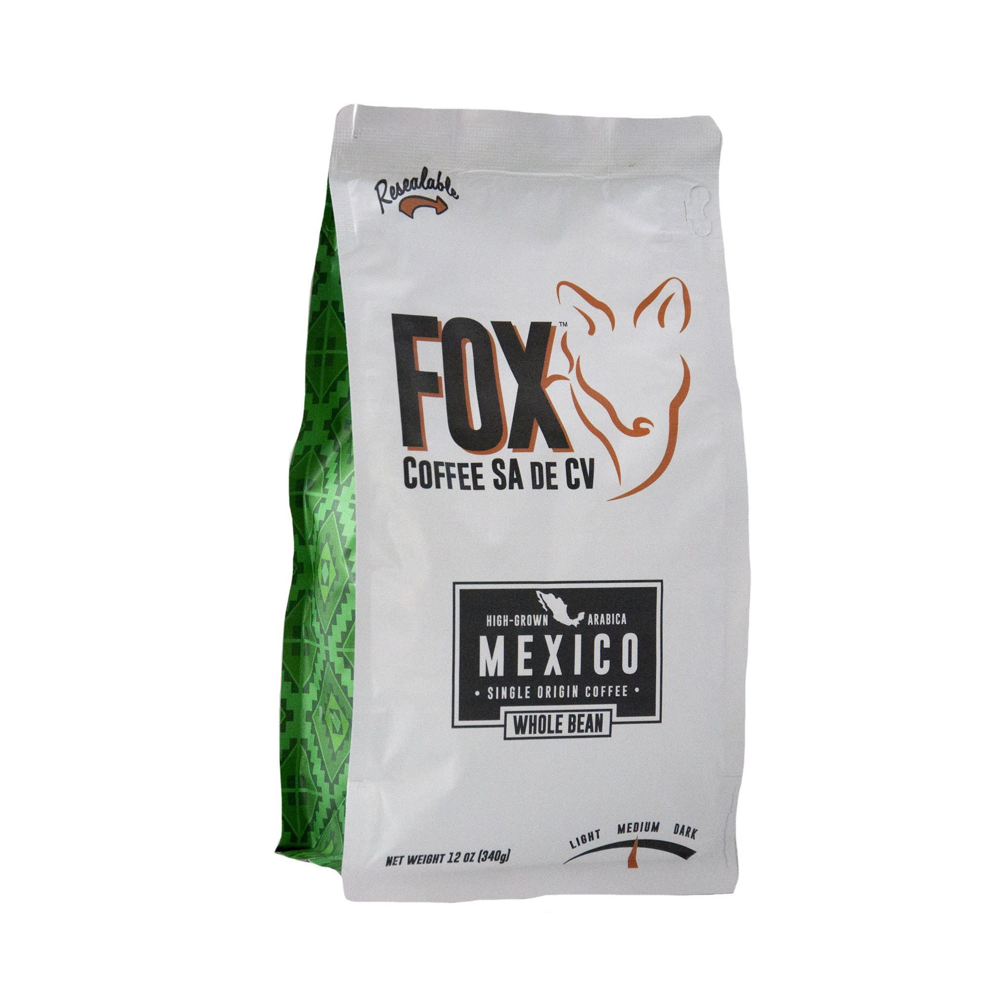Fox Coffee Whole Bean Medium Roast, 12 ounce bag, Gourmet Coffee