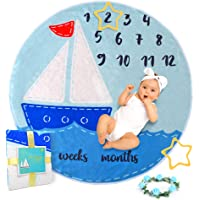 Baby Monthly Milestone Blanket for Newborn Girl Boy - Baby Age Blanket as Cute Photo Props, Soft Flannel Fleece Baby…