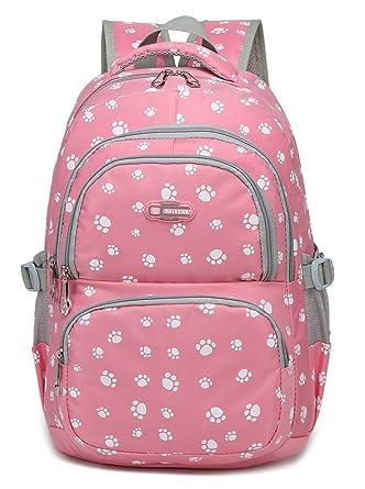 Pawprint School Backpacks for Girls Children Kids Elementary School Bags Bookbags (Pink 2)