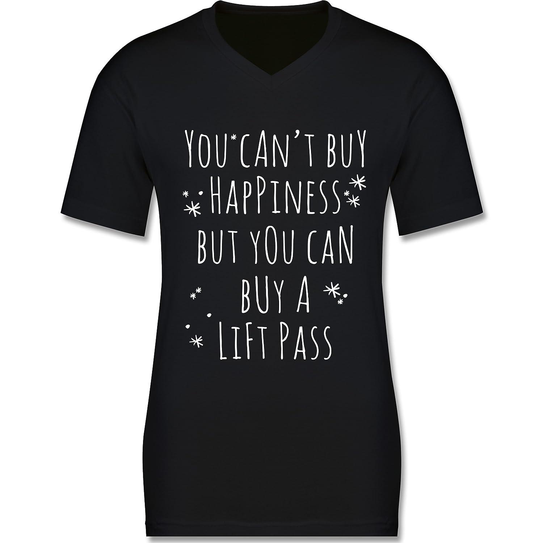 Wintersport - Buy Happiness Lift Pass Ski Snowboard - körperbetontes Premium T-Shirt mit V-Ausschnitt für Herren