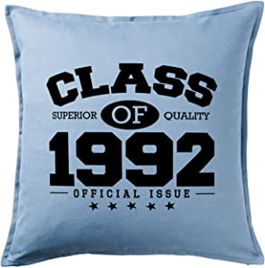 HARD EDGE DESIGN Class of 1992 Light Blue Throw Pillow with Duck Feather Filling