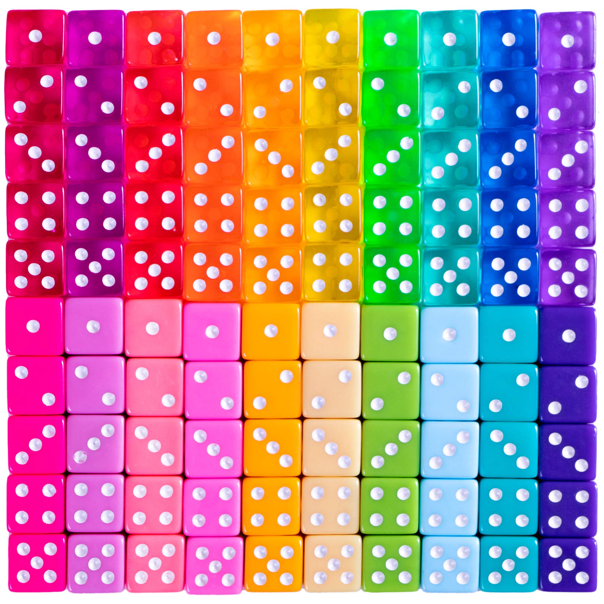 Miami Dice - 100 Retro 80s Translucent & Solid Colored Dice, 16mm Classic Family Pack for Board Games, and Teaching Math