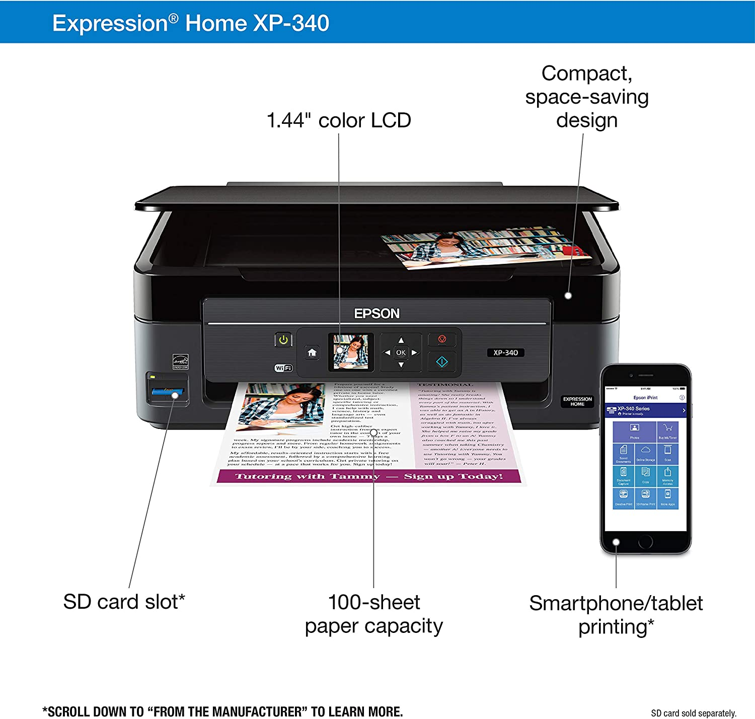 Epson Expression Home XP-340 Wireless Color Photo Printer with Scanner and Copier, Amazon Dash Replenishment Enabled
