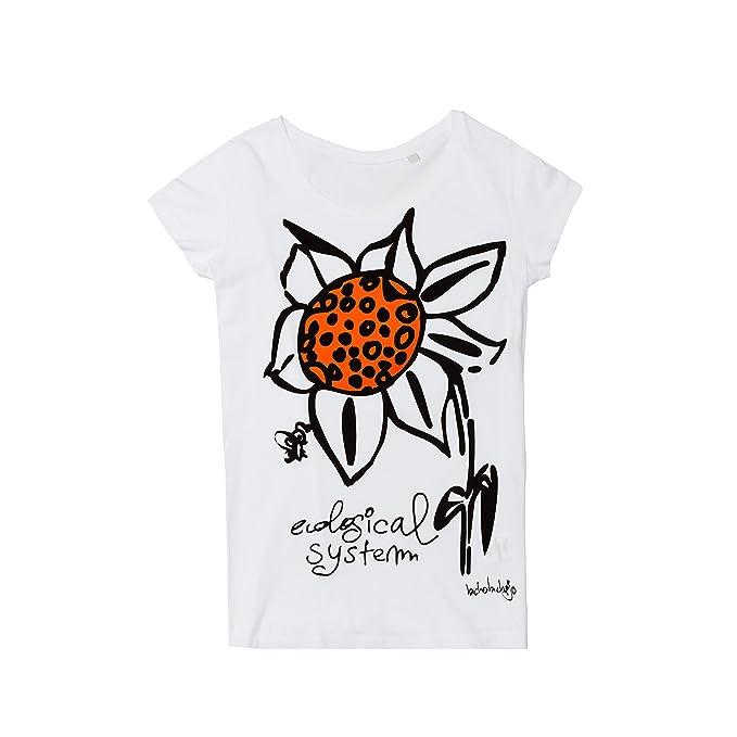 BICHOBICHEJO Camiseta Ecológica Mujer Girasol, Blanco, S: Amazon.es: Ropa y accesorios