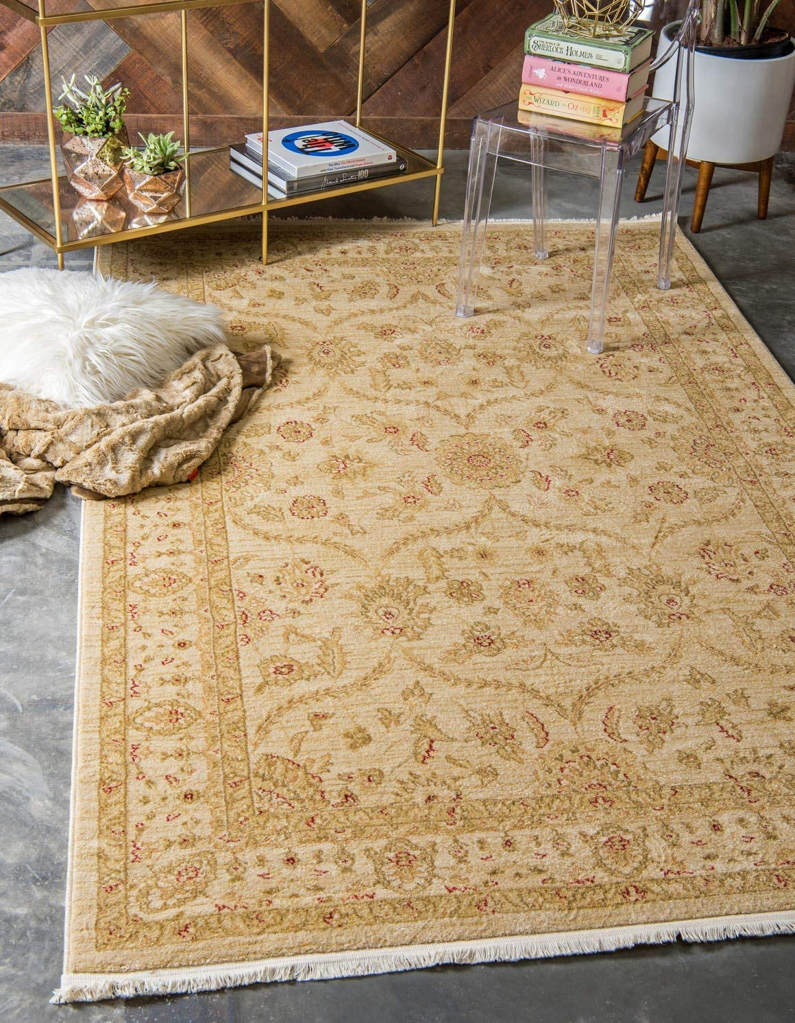 Unique Loom Edinburgh Collection Oriental Traditional French Country Cream Area Rug 3 3 x 5 3