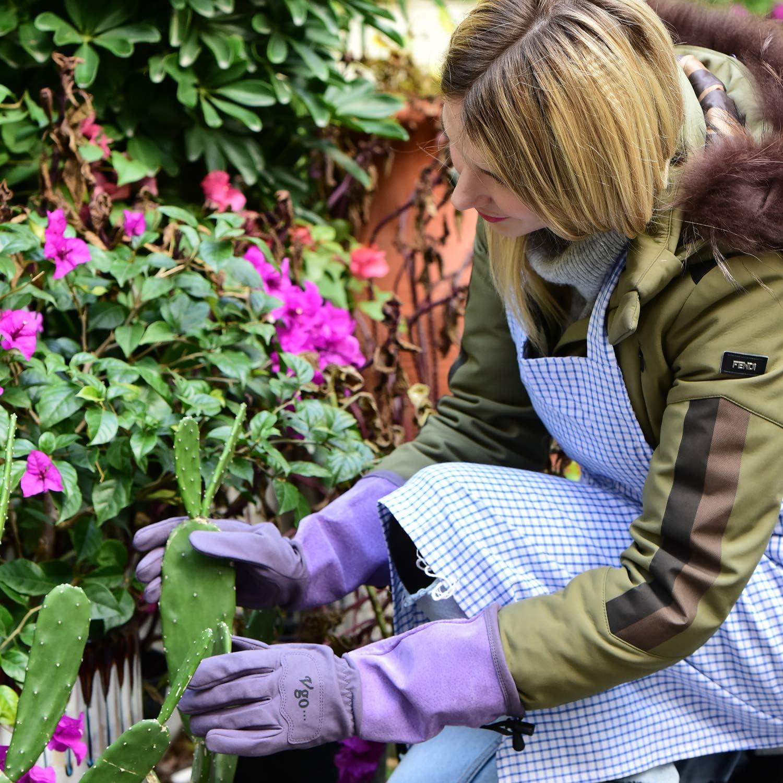 Vgo Rosa Kaktus Garten und Arbeitshandschuhe aus Kunstleder mit Langen Schweinsledermanschette f/ür Damen 1 Paar, 7//S, Lila, SL6592