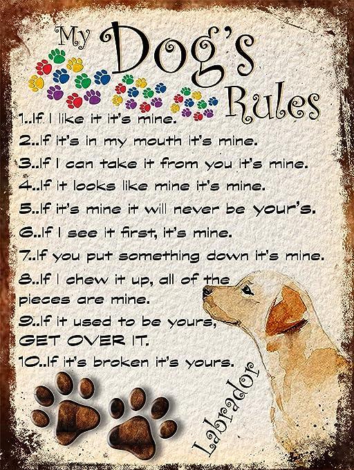 My DogS Rules Póster De Pared Metal Retro Placa Cartel ...