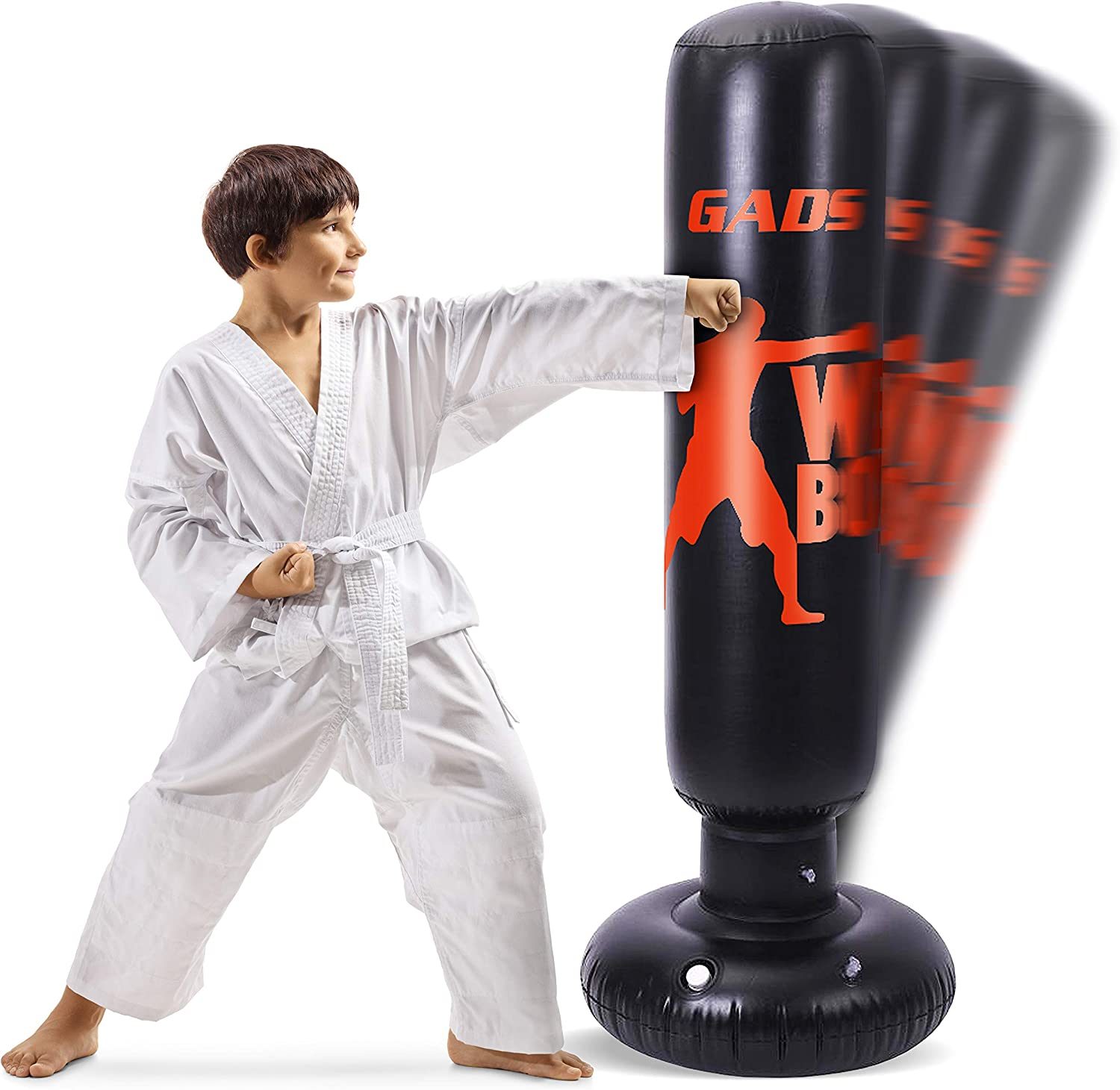 Gads Punching Bag for Kids | Premium Inflatable Bag for Immediate Bounce-Back | 62 inches Free Standing Bag for Boxing, Kickboxing, Karate & Stress Relief