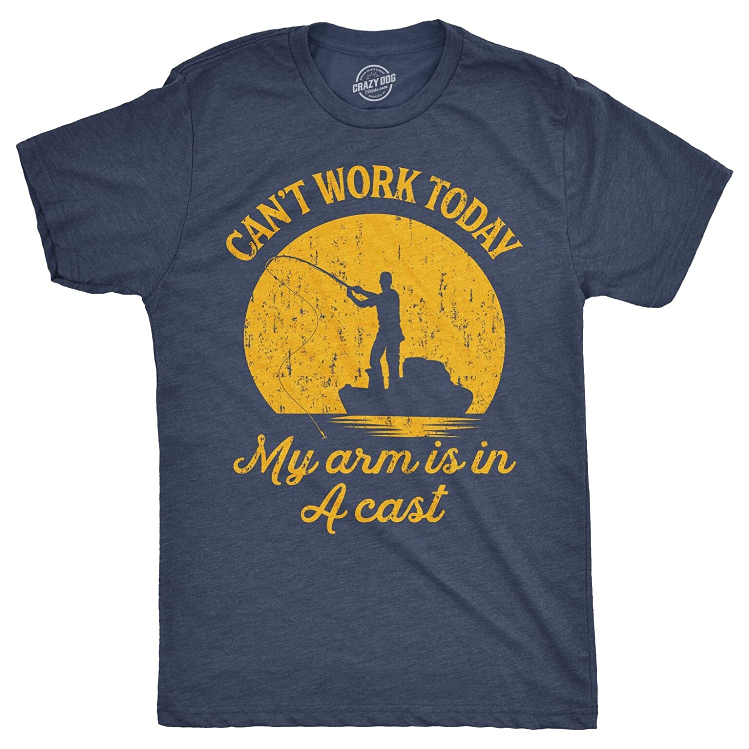 ebde8cf8 Amazon.com: Mens Can't Work Today My Arm is in A Cast T-Shirt Funny Fishing  Tee for Guys: Clothing