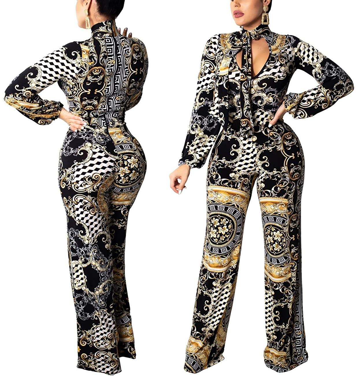 377796e6b55 Amazon.com  Women Sexy Jumpsuits Casual Turtleneck Short Sleeve Floral  Palazzo Wide Leg Loose Long Pants Comfy Party Club Waistband  Clothing