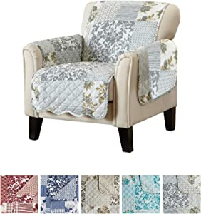 "Patchwork Scalloped Printed Furniture Protector. Stain Resistant Chair Cover. (24"" Chair, Grey)"