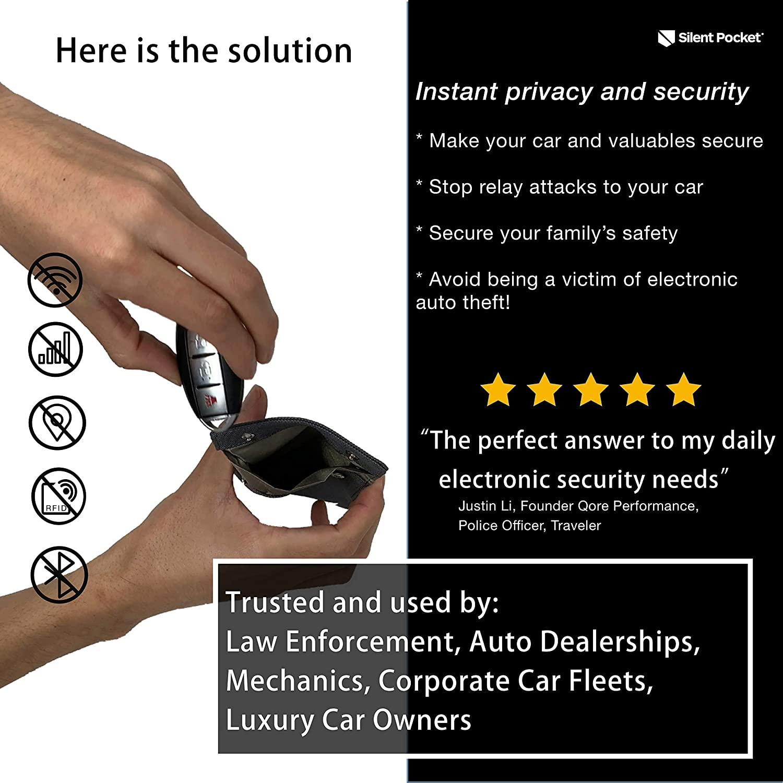 Silent Pocket Signal Blocking Faraday Key Fob Case - Car Anti Theft Device  Shielding Against All Signal Types, Including RFID Blocking & Durable