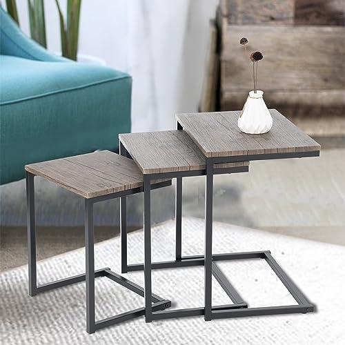 Set of 3 Dark Brown with Black Metal Frame Nesting Side End Table