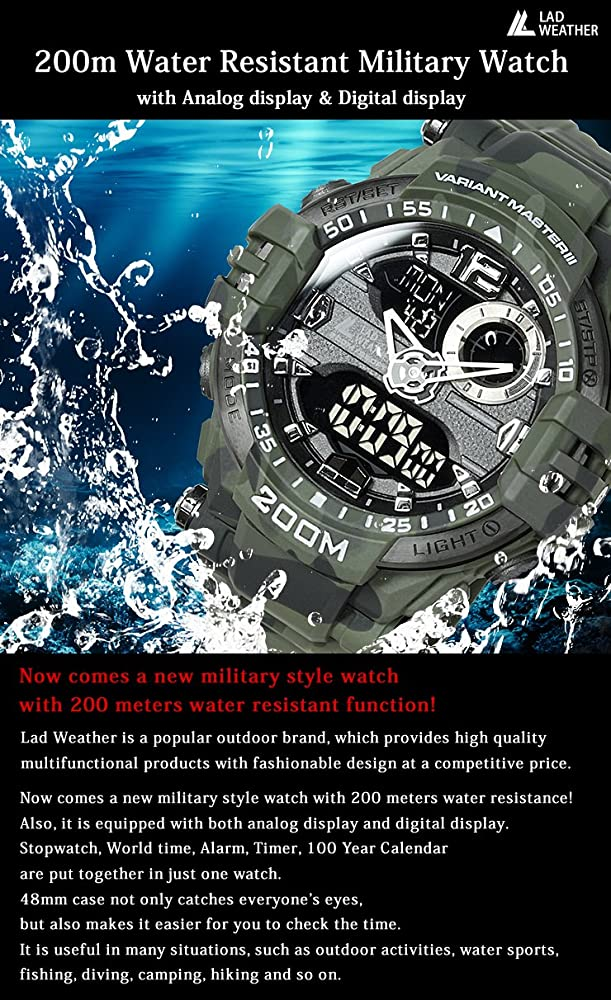 Lad Weather Reloj analógico-digital 200 m Impermeable ...