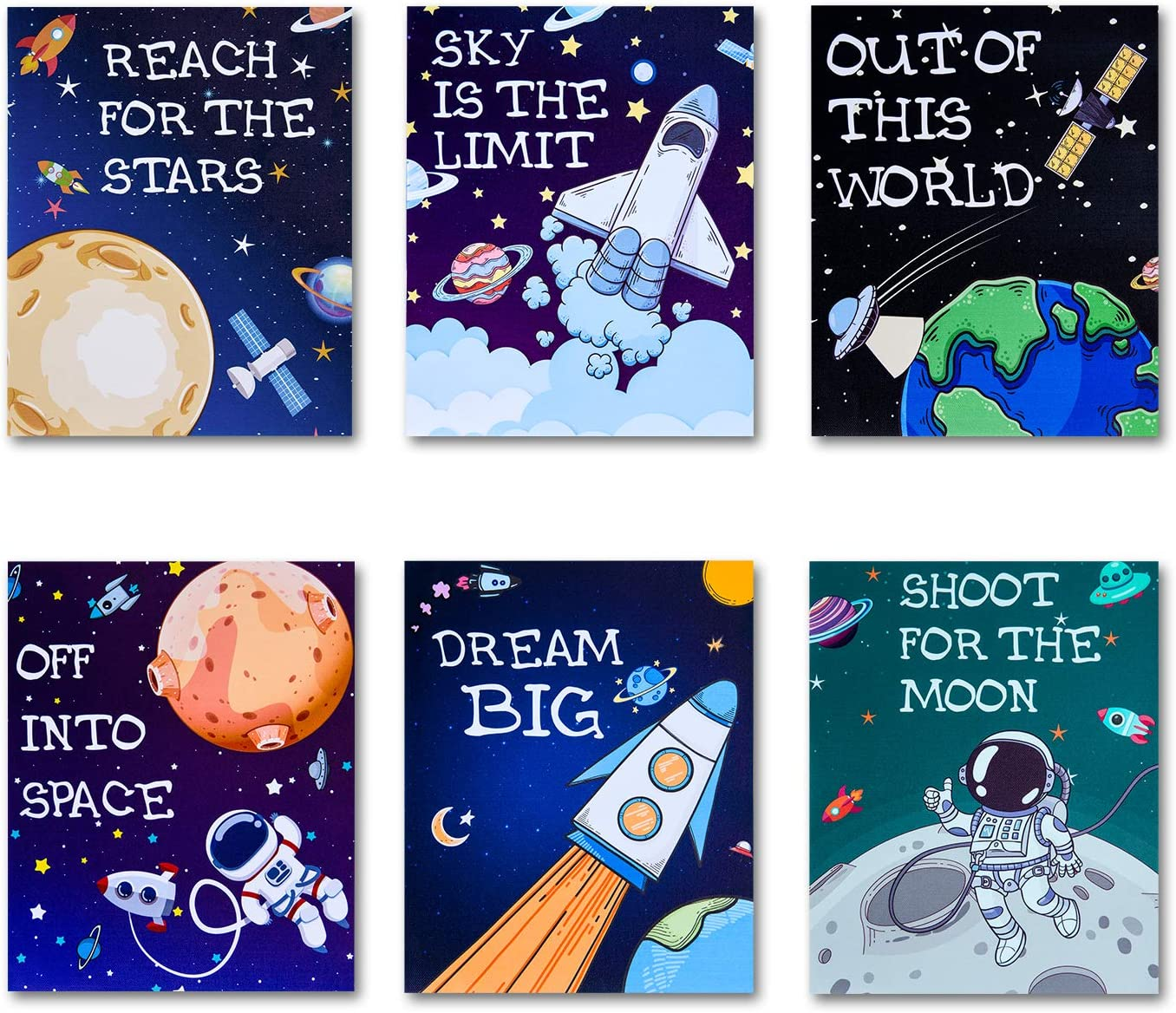 HERZOME Outer Space Room Decor for Boys Girls, Canvas Kids Nursery Bedroom Space Posters Decor(Unframed) , 8 x 10 Inch, Inspirational Wall Art Decoration Playroom Nursery Room Décor - Set of 6