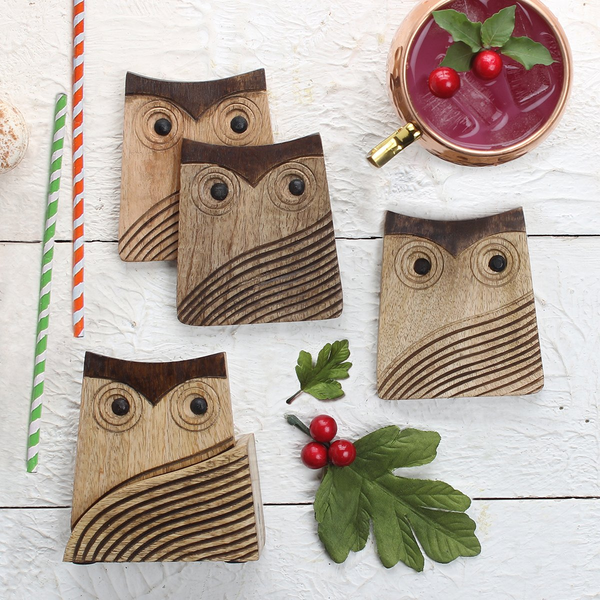 storeindya, Set of 4 with Holder- Wooden Coasters for Drinks Absorbent - Coaster Set with Holder - Eco-Friendly Protects Furniture from Water Stains & Damages (Owl Collection)