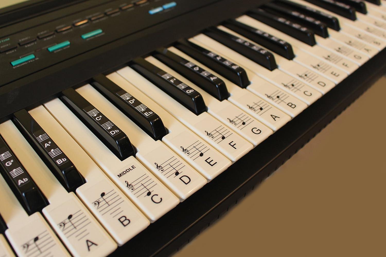 ... para pianos o teclados, juego de hasta 88 pegatinas para teclas, para teclas blancas y negras, laminadas PSBW 88: Amazon.es: Instrumentos musicales