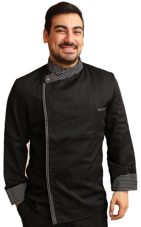 Petersabitidalavoro Giacca Da Cuoco, per Lavoro, Chef, Barista, Pizzaiolo, Cucina, Made in Italy, Nero, inserti Gessati, Bottoni a Pressione