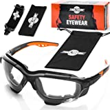 ToolFreak Spoggles Safety Glasses, ANSI Z87 Rated , Foam Padded , Clear Distortion Free Polycarbonate Lenses , UV and Impact
