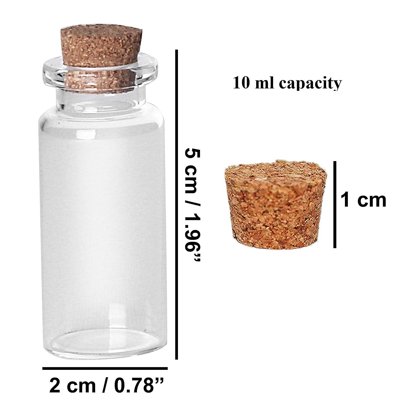 Mini Botellas de Vidrio (60 Piezas) 10ml Viales Miniatura 5cm x ...