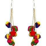 FreshVibes Pom Pom Earrings for Women - Multi Colour Dangle & Drop Fur Funky Ear Rings