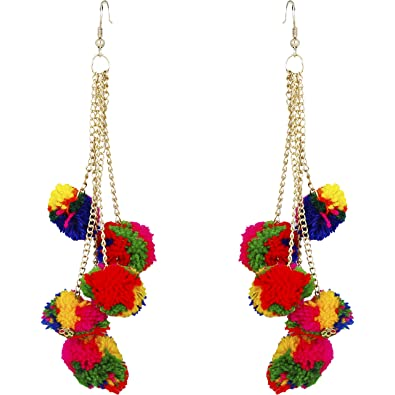 1f457ea70 Buy FreshVibes Pom Pom Earrings for Women - Multi Colour Dangle & Drop Fur  Funky Ear Rings Online at Low Prices in India | Amazon Jewellery Store -  Amazon. ...